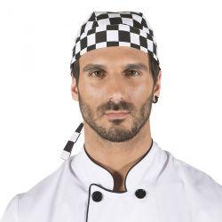 Gorro Pirata Cocinero Cuadros Negros 4471