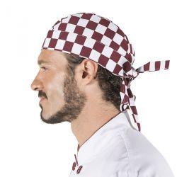 Gorro Pirata Cocinero Cuadros Burdeos 4471