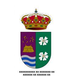Escudo en Vinilo de Impresion + Nombre en Vinilo Textil debajo de Escudo.